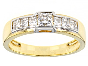 Moissanite 14k yellow gold over silver and platineve mens ring 1.13ctw DEW.
