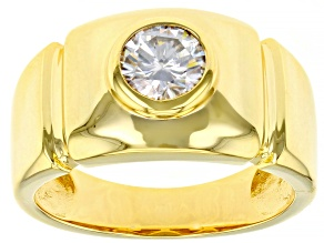 Moissanite 14k yellow gold over sterling silver mens ring 1.00ct DEW.