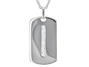 Moissanite Platineve Mens Dog Tag Pendant With Cable Chain 0.48ctw DEW.
