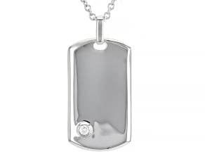 Moissanite Platineve Mens Dog Tag Pendant With Cable Chain .10ct DEW.