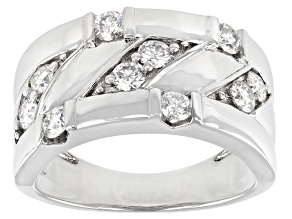 Moissanite platineve mens wide band ring 1.00ctw DEW.