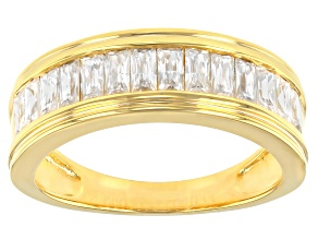 Moissanite 14k yellow gold over sterling silver mens band ring 1.26ctw DEW.