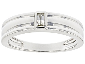 Moissanite platineve mens band ring .09ct DEW