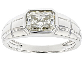 Moissanite platineve mens solitaire ring 1.80ct DEW.