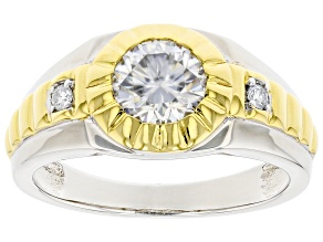 Moissanite platineve and 14k yellow gold over sterling silver mens ring 1.26ctw DEW.