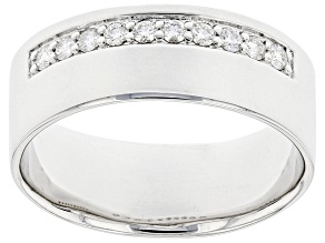 Moissanite platineve mens wide band ring .30ctw DEW.