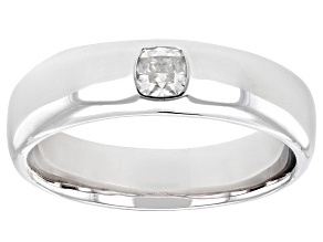 Moissanite platineve mens wide ring .33ct DEW.
