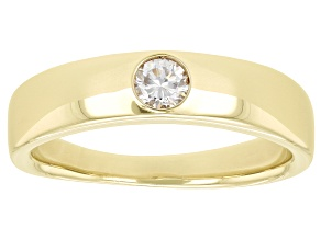 Moissanite 14k yellow gold over sterling silver mens band ring .23ct DEW.