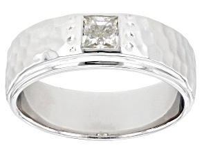 Moissanite platineve mens hammered band ring .60ct DEW.