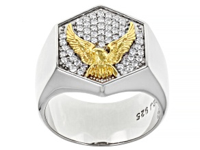 Moissanite platineve and 14k yellow gold over sterling silver mens eagle ring .55ctw DEW