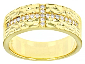 Moissanite platineve and 14k yellow gold over sterling silver mens cross band ring .21ctw DEW