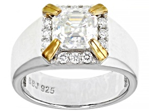 Moissanite platineve and 14k yellow gold over sterling silver mens ring 3.32ctw DEW