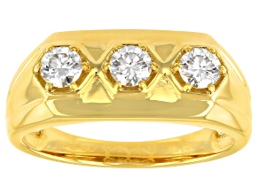Moissanite 14k yellow gold over sterling silver mens ring .69ctw DEW.