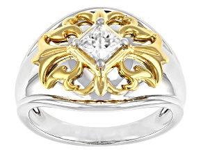 Moissanite platineve and 14k yellow gold over sterling silver mens ring .80ct DEW.