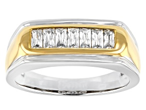 Moissanite platineve and 14k yellow gold over sterling silver mens ring .63ctw DEW.