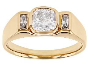 Moissanite 14k yellow gold over sterling silver mens ring.