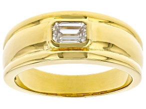 Moissanite 14k yellow gold over sterling silver mens ring .58ct DEW