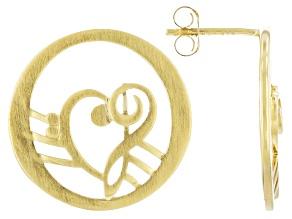 18K Gold Over Silver Heart Shape Music Clefs Earrings