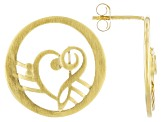 18K Gold Over Silver Heart Shape Music Clefs Earrings