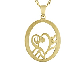 "18K Yellow Gold Over Silver Heart Shape Music Clefs Pendant W/ 18"" Chain"