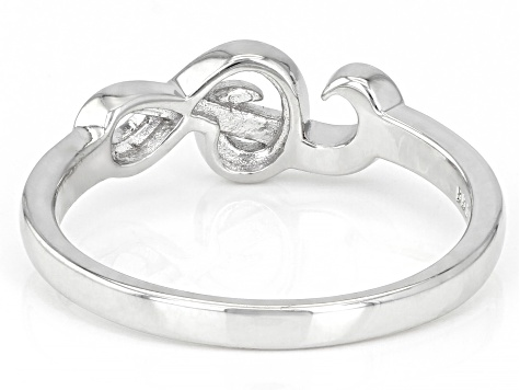 Rhodium Over Sterling Silver Treble Clef Ring