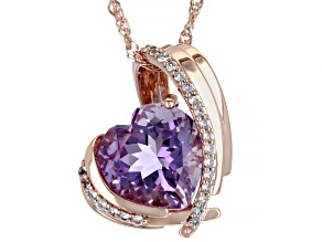 Amethyst & White Topaz 18K Rose Gold Over Sterling Silver Heart Pendant With Chain 5.19ctw