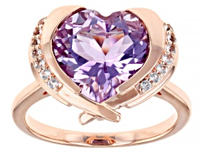 Amethyst & White Topaz 18K Rose Gold Over Sterling Silver Heart Ring 4.91ctw
