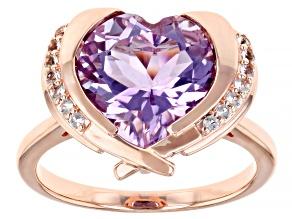 Lavender Amethyst & White Topaz 18K Rose Gold Over Sterling Silver Heart Ring 4.91ctw