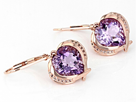 Amethyst & White Topaz 18K Rose Gold Over Silver Heart Earrings 5.25ctw