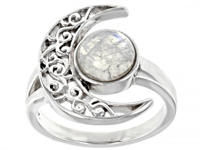 Rainbow Moonstone Rhodium Over Silver Crescent Moon Ring