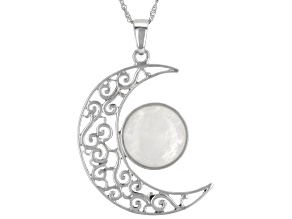 "Rainbow Moonstone Rhodium Over Silver Crescent Moon Pendant With 18"" Chain"