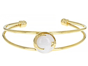 Rainbow Moonstone 18K Yellow Gold Over Sterling Silver Moon & Star Bracelet