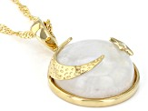"Rainbow Moonstone 18K Yellow Gold Over Sterling Silver Moon & Star Pendant With 18"" Chain"