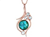 "Turquoise &  Sky Blue Topaz 18K Rose Gold Over Silver Pendant With 18"" Chain 1.15ctw"