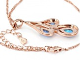 "Blue Lab Created Opal 18K Rose Gold Over Silver Rain Drop Pendant With 18"" Chain"