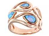 Blue Lab Created Opal 18K Rose Gold Over Silver Rain Drop Ring