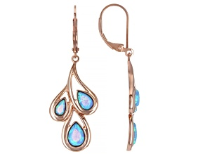 Blue Lab Created Opal 18K Rose Gold Over Silver Rain Drop Earrings
