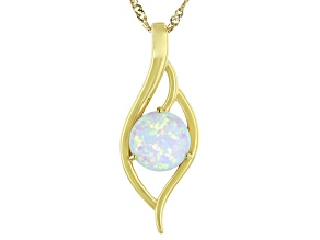 "Multi Color Lab Created Opal 18K Yellow Gold Over Sterling Silver Pendant With 18"" Chain"