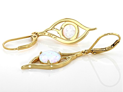 Multi Color Lab Created Opal 18K Yellow Gold Over Sterling Silver Earrings