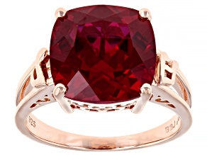 Lab Created Ruby 18K Rose Gold Over Silver Solitaire Ring 6.80ct