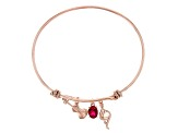 Lab Created Ruby 18K Rose Gold Over Silver Charm Bracelet 1.28ct