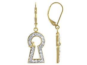 White Zircon 18K Yellow Gold Over Silver Keyhole With Bird Accent Earrings 1.17ctw
