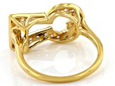 White Zircon 18K Yellow Gold Over Silver Keyhole With Bird Accent Ring 0.59ctw