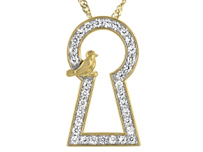 "White Zircon 18K Yellow Gold Over Silver Keyhole With Bird Accent Pendant With 18"" Chain 0.84ctw"