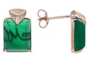 Onyx 18K Rose Gold Over Sterling Silver Keystone Earrings