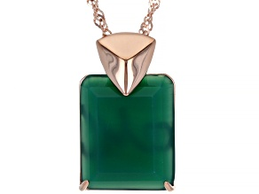 "Green Onyx 18K Rose Gold Over Sterling Silver Pendant With 18"" Chain"