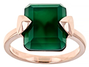 Green Onyx 18K Rose Gold Over Sterling Silver Ring