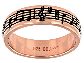18K Rose Gold Over Sterling Silver Enchanted Butterfly Music Ring