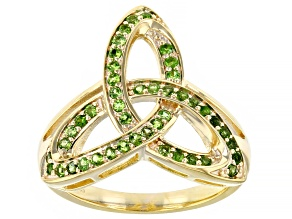 Chrome Diopside 18K Yellow Gold Over Sterling Silver Trinity Ring 0.37ctw