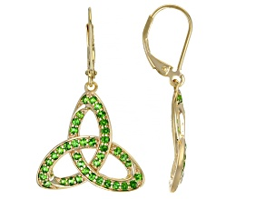 Chrome Diopside 18K Yellow Gold Over Sterling Silver Trinity Earrings 1.21ctw